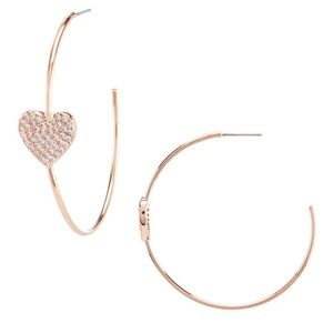NWT Kate Spade Yours Truly heart hoop earrings